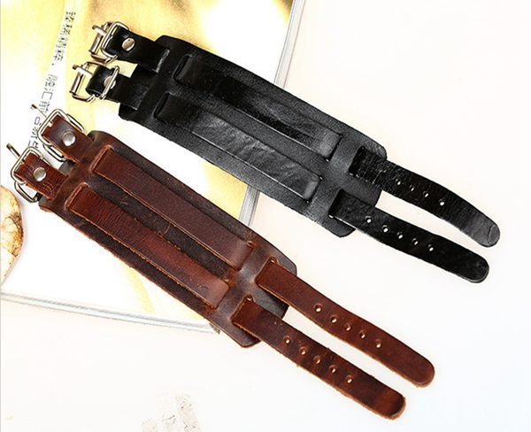 Punk Double Buckle Rectangle Wide Leather Bracelet Bangle Unisex