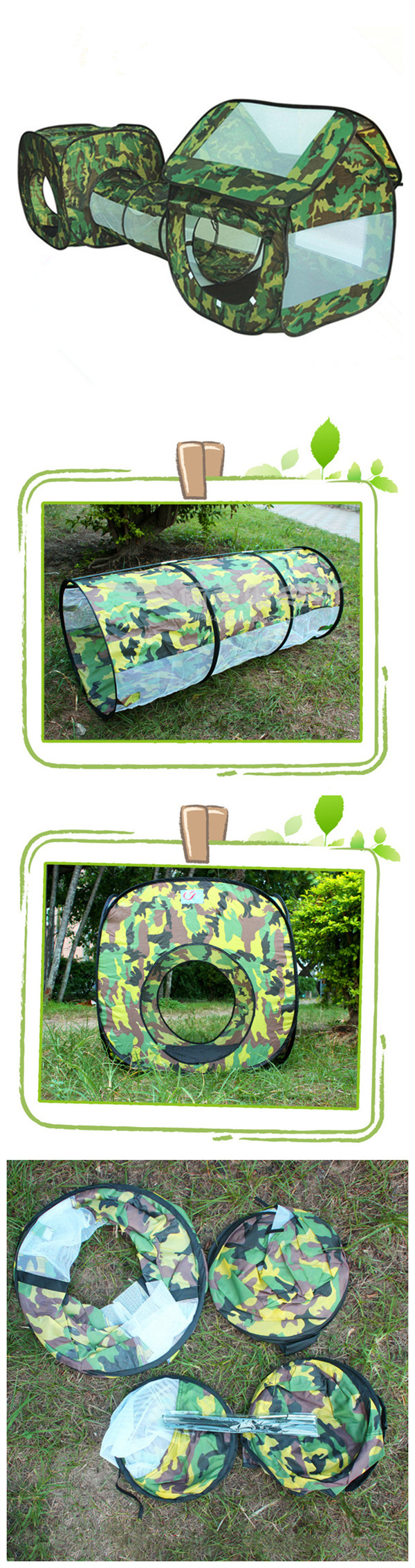 3 In 1 Outdoor Camping Tent Kids Play Fun House Children Crawl Tunnel Sunshade