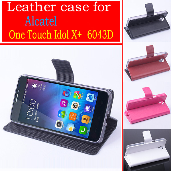 Flip Leather Stand Protective Case For Alcatel One Touch Idol X+ 6043D