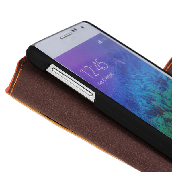 Matte PU Leather Wallet Protective Case For Samsung Galaxy Alpha G850