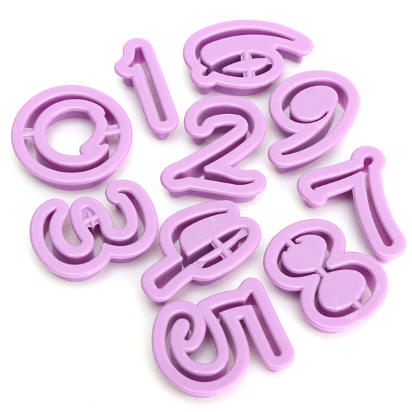 Plastic Number Cookie Cutter Biscuit Fondant Mold Cake Decorating Tool