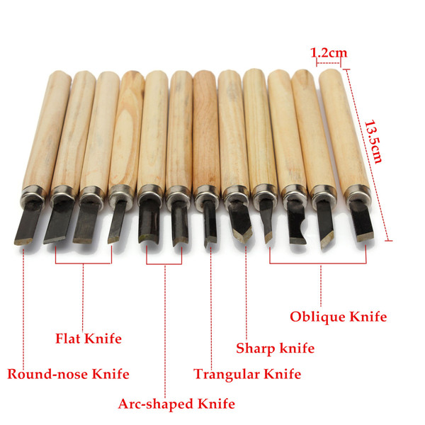 12pcs Hand Wood Carving Chisels Knife For Wood Working DIY Tools