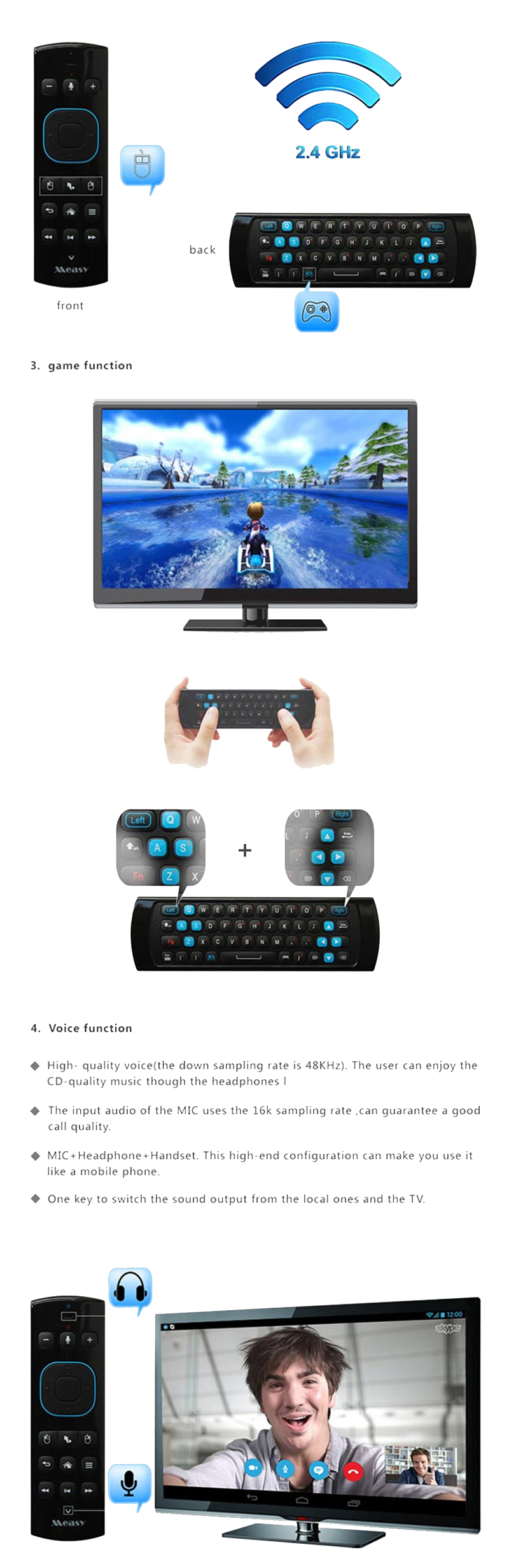 Measy GP830 2.4G Air Mouse Remote Control Support Somatosensory Game