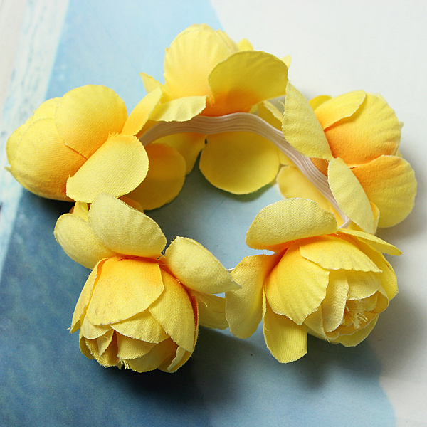 Flower Bun Garland Floral Head Knot Hair Band Elastic Bridal