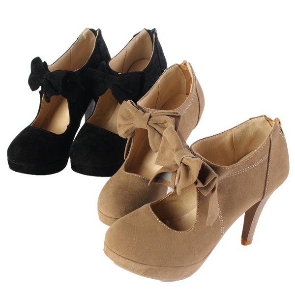Women Vintage Bow Pumps Shoes High Heeled Sandals