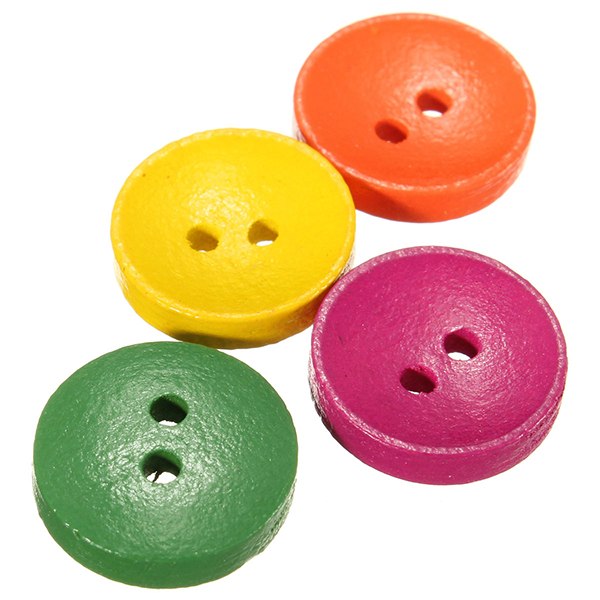 100pcs Mixed Wooden Buttons Round 2 Holes Sewing Clothing