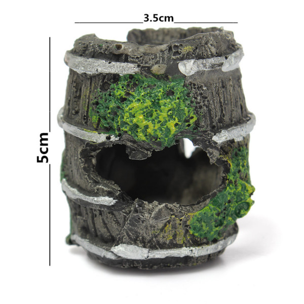 Aquarium Miniature Resin Barrel Ornament Fish Tank Cave Landscaping