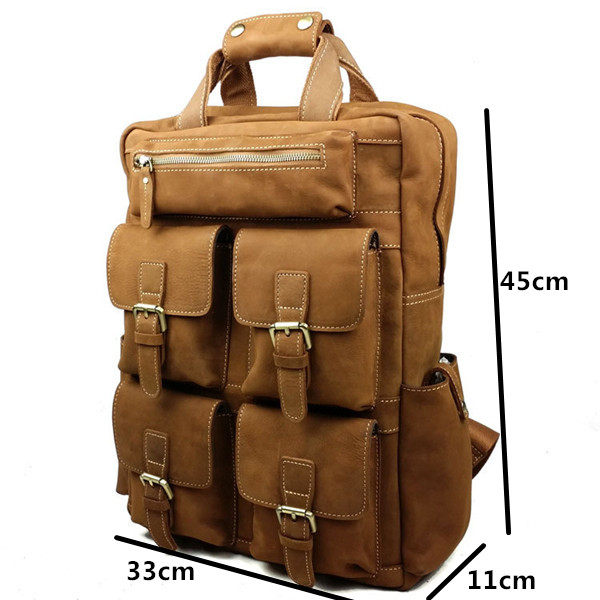 Genuine Leather Bag Military Style Backpack Man Cowhide Backpacks