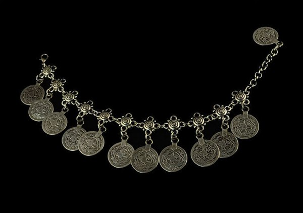 Vintage Antique Silver Charm Coin Anklet Beach Bracelet Foot Jewelry