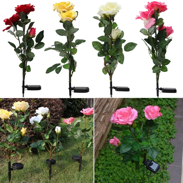 1 x Solar Power 3 LED Rose Flower Light Outdoor Garden Yard Lawn Decor