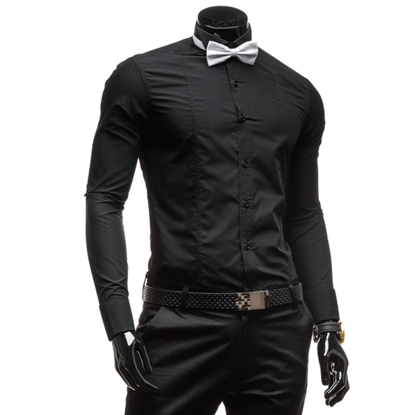 Men Long Sleeve Bow Tie Solid Shirt Formal Dress