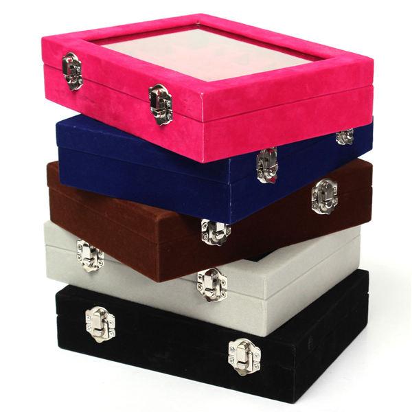 24 Grids Velvet Storage Organizer Jewelry Box Display Showcase