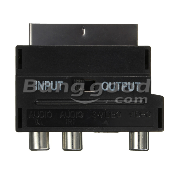 RGB Scart Male To 3 RCA Female S-Video AV TV Audio Cable Adapter Converter