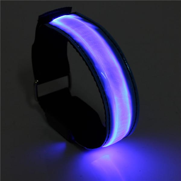 2pcs LED Reflective Arm Band Belt Strap Running Night Signal Safety Blue