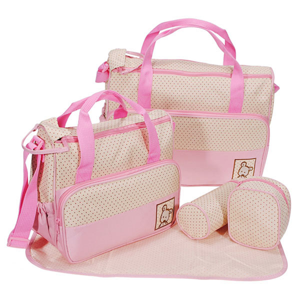 5 Pcs Baby Diaper Nappy Bag Mommy Bottle Holder Shoulder Handbag