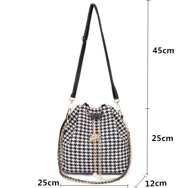 Women Canvas Chain Drawstring Bucket Shoulder Bags Handbags Crossbody Bags