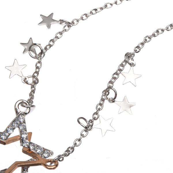 Double Pentagram Star Crystal Rhinestone Sweater Chain Necklace