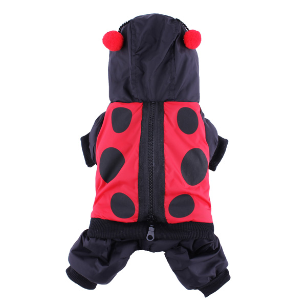Ladybird Pattern Pet Windbreak Warm Coat Dog Jumpsuit Costume Winter