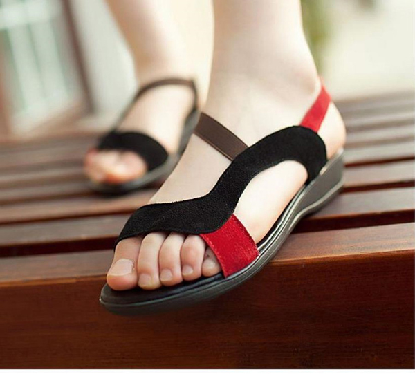 Black Red Womens Lady's Summer Beach Sandals Peep Toe Roma Flat Heels Shoes