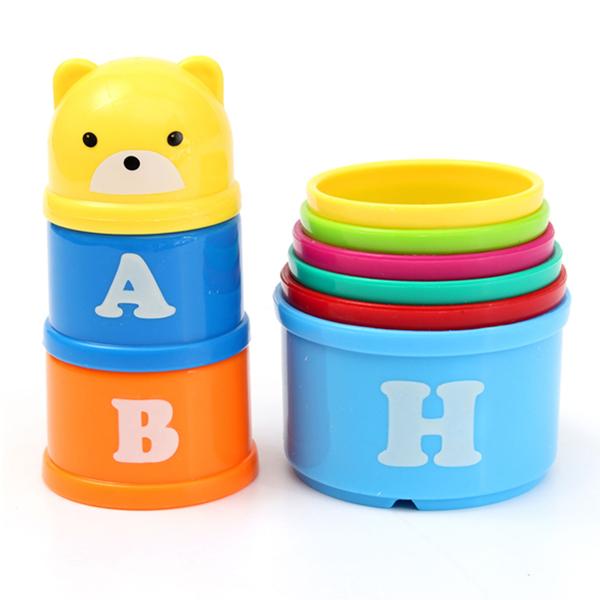 9pcs Set Children Kids Educational Toy Figures Letters Folding Cup Stack
