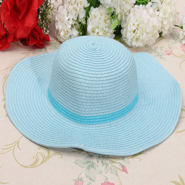 Kids Girls Child Summer Roll Up Straw Sun Hat Large Wide Brim Bow Beach Cap