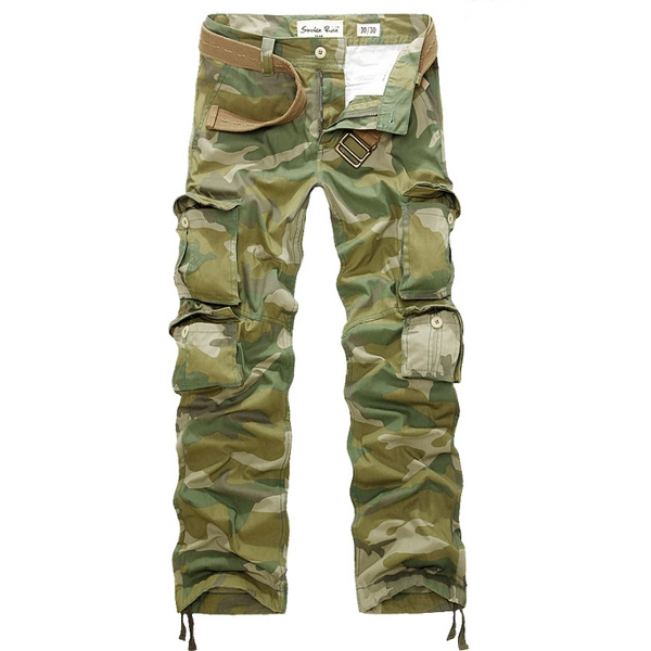 Mens Loose Large Size Army Camouflage Multi Pocket Casual Cargo Pants