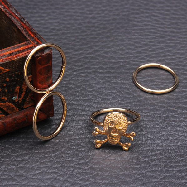 4Pcs Gold Silver Skull Knuckle Stacking Mid Finger Rings Set
