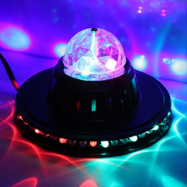 8W LED Voice Activated Rotating Crystal Magic Ball Stage Light Club Party