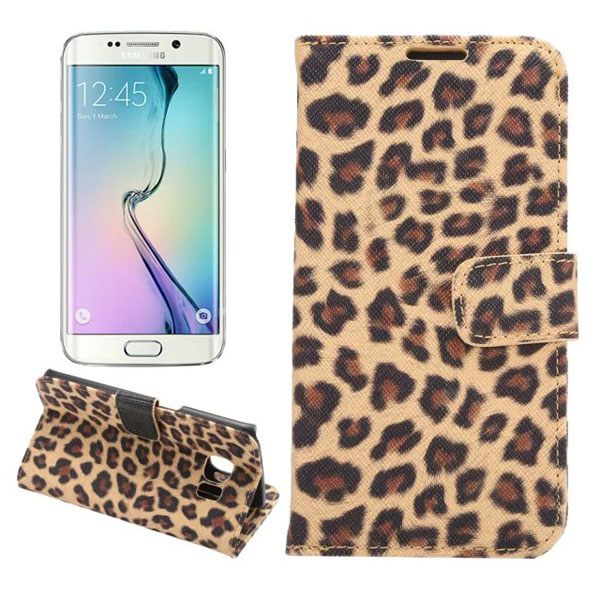Leopard Grain Leather PU Case For Samsung Galaxy S6 Edge