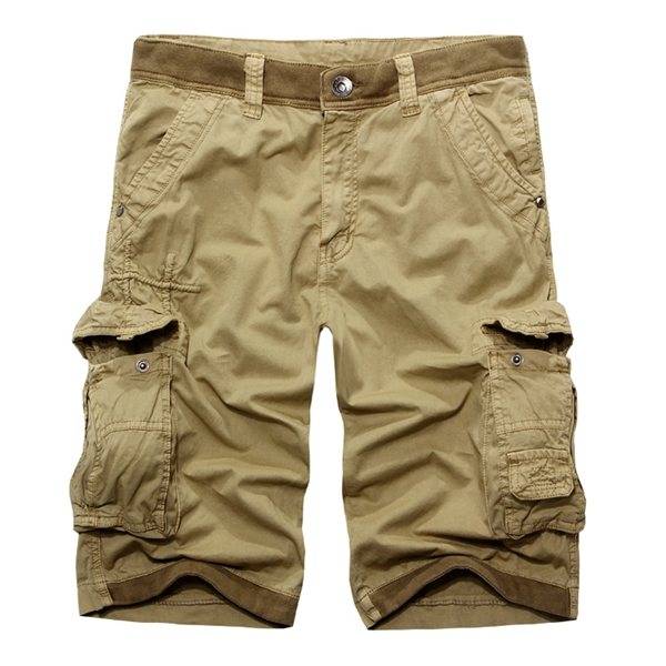 Mens Cotton Fashion Casual Loose Multi Pockets Cargo Shorts