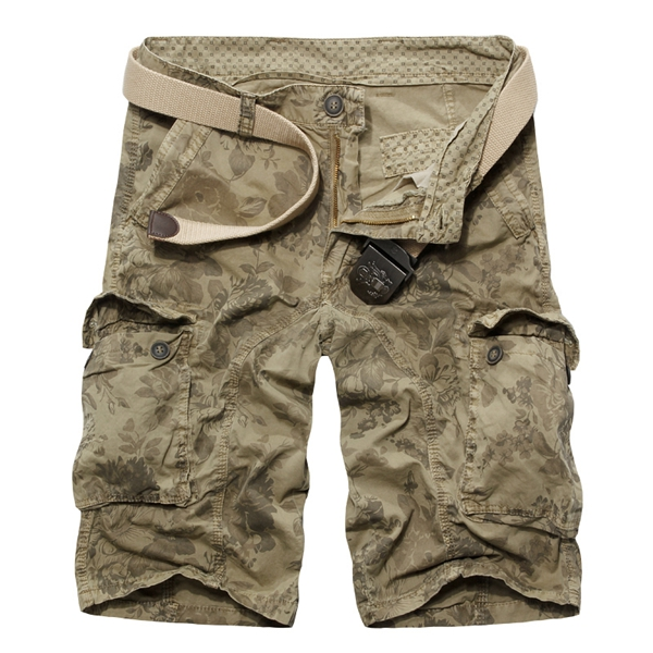 Mens Casual Loose Stripe Camo Cotton Multi Pockets Cargo ShorT-pants