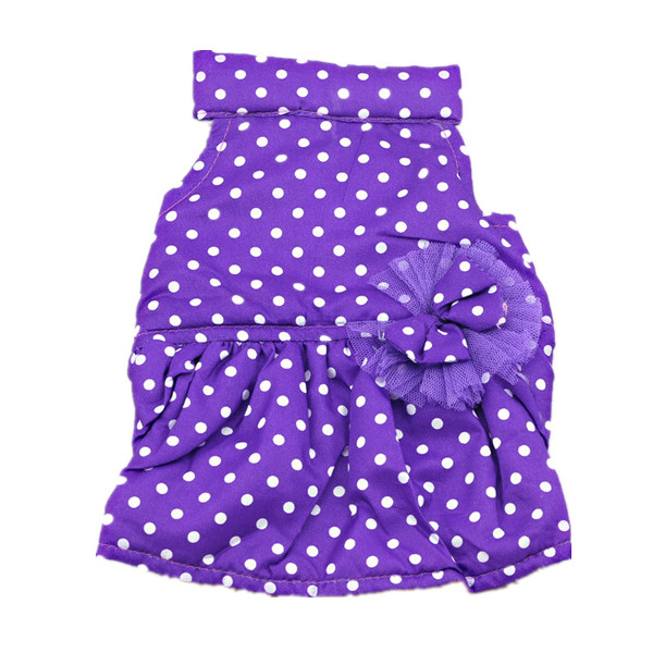 Pet Dog Sweet Polka Dots Dresses Puppy Lace Bow Flower Cotton Warm Skirt