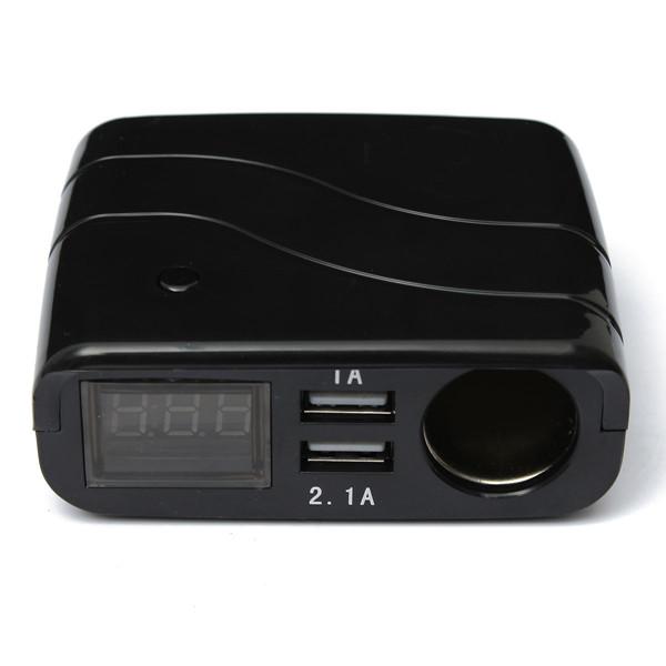 12-24V 2 USB Adapter Charger+Cigarette Lighter Sockets+Digital Voltmeter