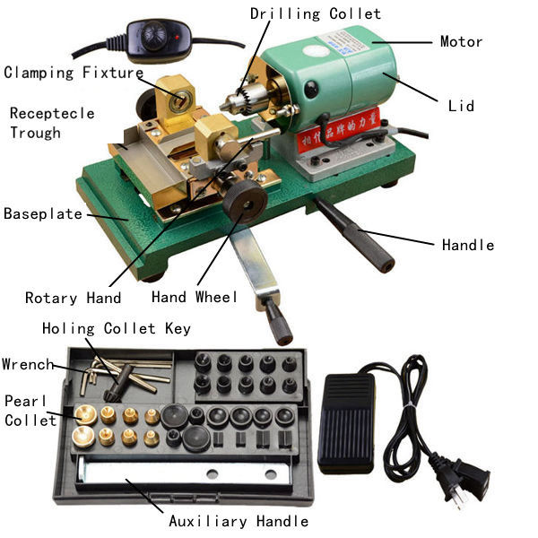 Beads Pearl Drilling Machine Drills Hole Punch Jewelry Making Tool