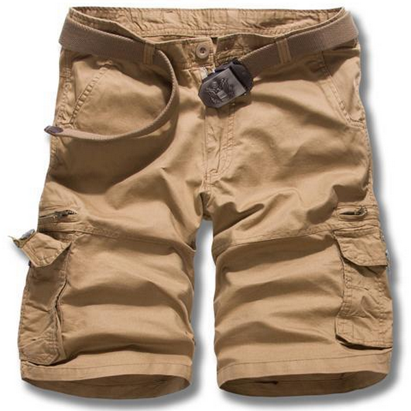 Men Casual Loose Cotton Blended Solid Cargo Shorts G52