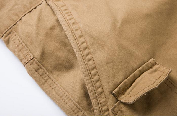 Men Casual Loose Cotton Blended Solid Cargo Shorts G49