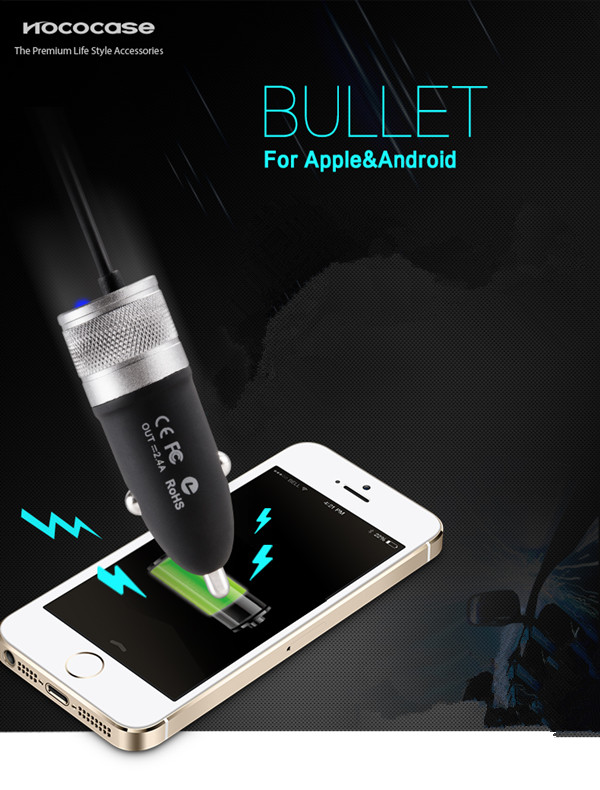 HOCO UCM01 DC12-24V Car USB Charger 2.4A for Android Phone