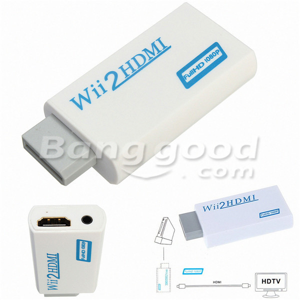 Wii to HD Wii2HD Full HD FHD 1080P Converter Adapter 3.5mm Audio Output Jack