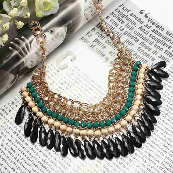 Bohemian Style Multilayer Drop Beads Pendant Tassel Choker Necklace