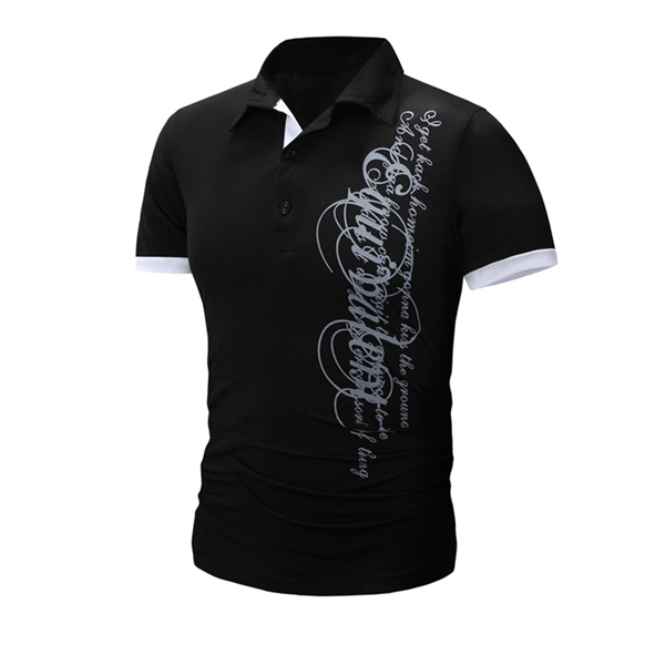 Mens Short Sleeve Slim Fit Lapel Letter Printing Polo Shirts
