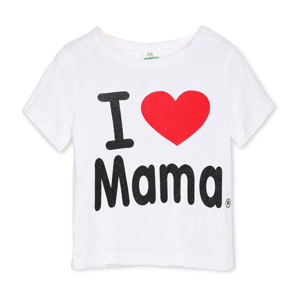 Baby Short Sleeved T-shirt I Love Papa Mama Children Clothes