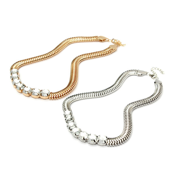 Bib Silver Gold Metal Crystal Snake Chain Choker Necklace For Women