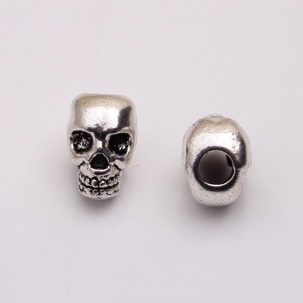 10Pcs Tibetan Silver Skull Beads DIY Paracord Bracelet Jewelry Findings