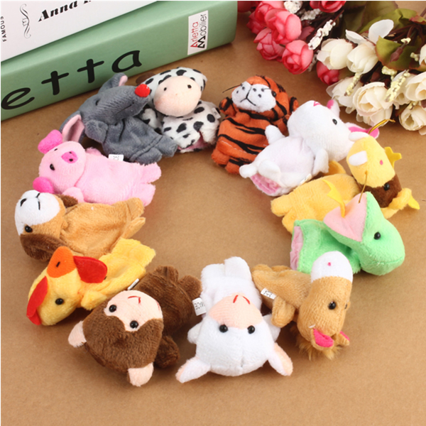 12x Family Finger Puppets Cloth Doll Baby Educational Hand Toy
