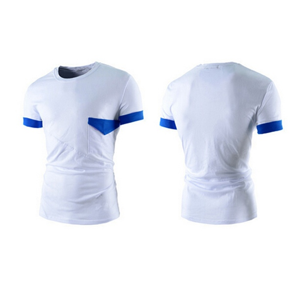Mens Casual Color Matching Tees Slim Fit Crew Neck Short Sleeve T-shirt