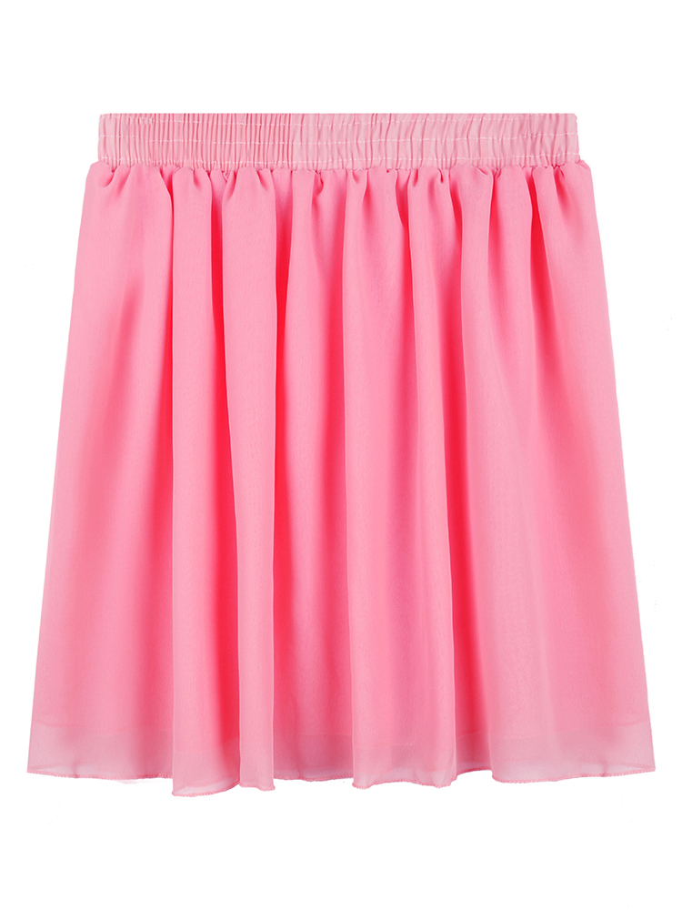 Candy Color Elastic Waist Women Summer Chiffon Pleated Mini Skirt