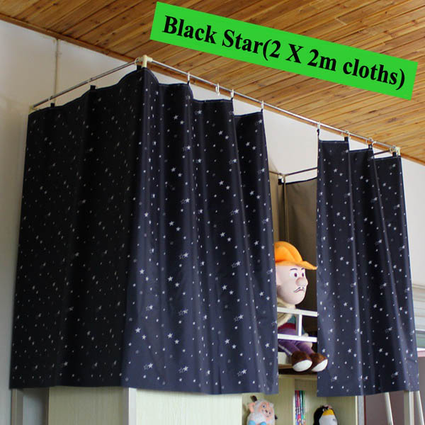 Dormitory Bunk Bed Curtain Silver Plating Star Moon Shade Cloth
