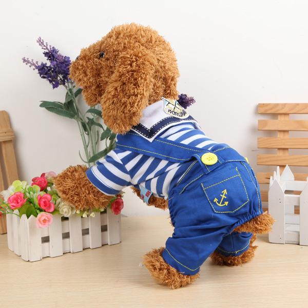 Pets Dogs Naval Uniform Navy Sailor Suit Stripe Pattern Overalls Clothes