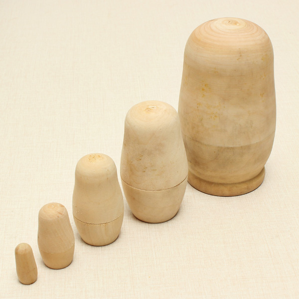 5Pcs/Set Matryoshka Russian Doll Unpainted Model Kids DIY Gift Wooden Toys