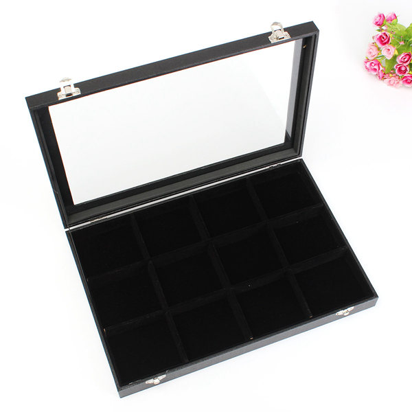 12 Grids Jewelry Tray Storage Box Necklaces Earrings Bracelets Showcase